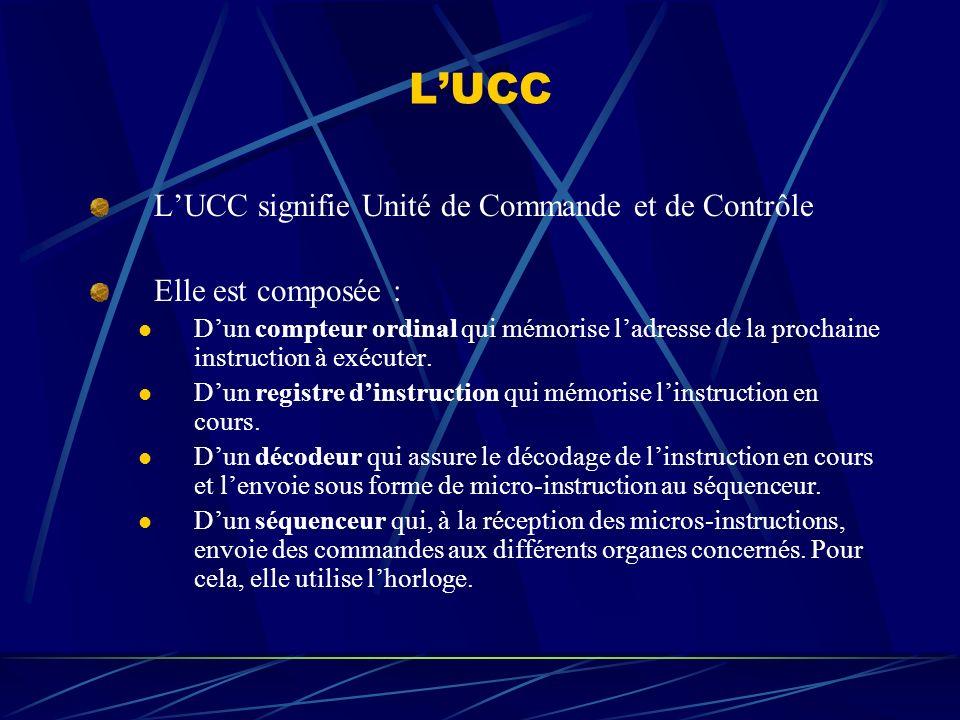 LUCC LUCC signifie Unité de Commande et de Contrôle Elle est composée : Dun compteur ordinal qui mémorise ladresse de la prochaine instruction à exécu