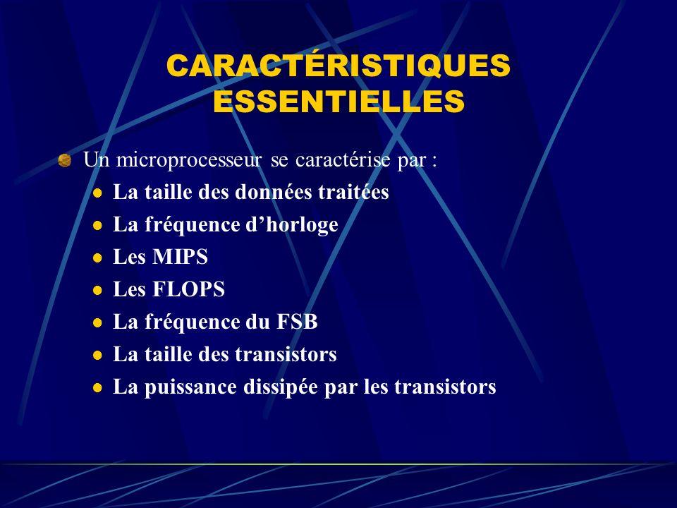 CARACTÉRISTIQUES ESSENTIELLES Un microprocesseur se caractérise par : La taille des données traitées La fréquence dhorloge Les MIPS Les FLOPS La fréqu