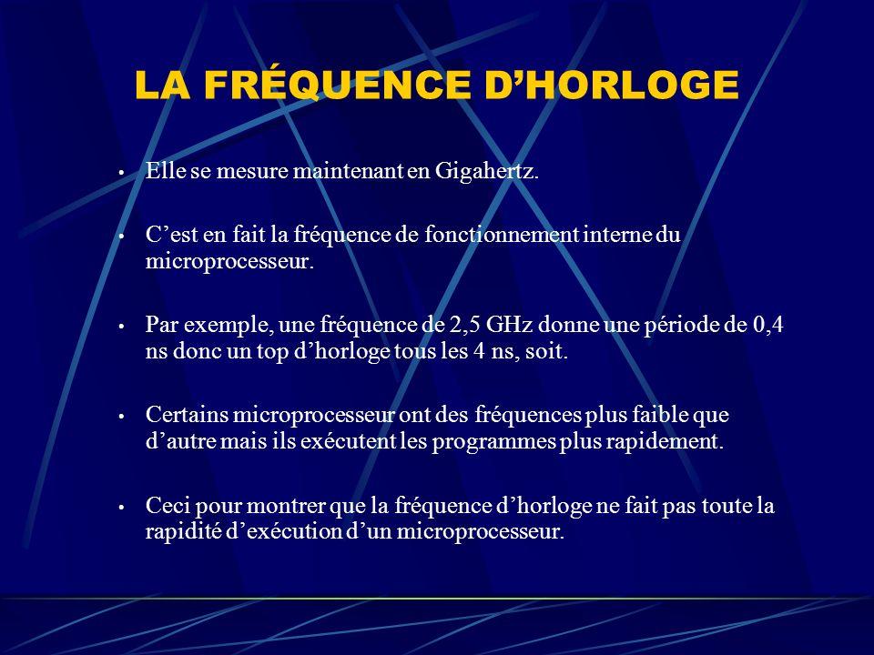 LA FRÉQUENCE DHORLOGE Elle se mesure maintenant en Gigahertz. Cest en fait la fréquence de fonctionnement interne du microprocesseur. Par exemple, une