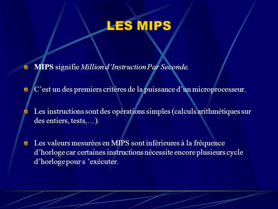 LES MIPS MIPS signifie Million dInstruction Par Seconde. Cest un des premiers critères de la puissance dun microprocesseur. Les instructions sont des