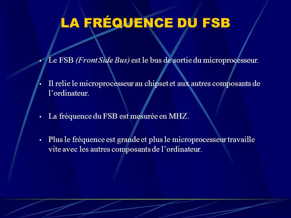 LA FRÉQUENCE DU FSB Le FSB (Front Side Bus) est le bus de sortie du microprocesseur. Il relie le microprocesseur au chipset et aux autres composants d