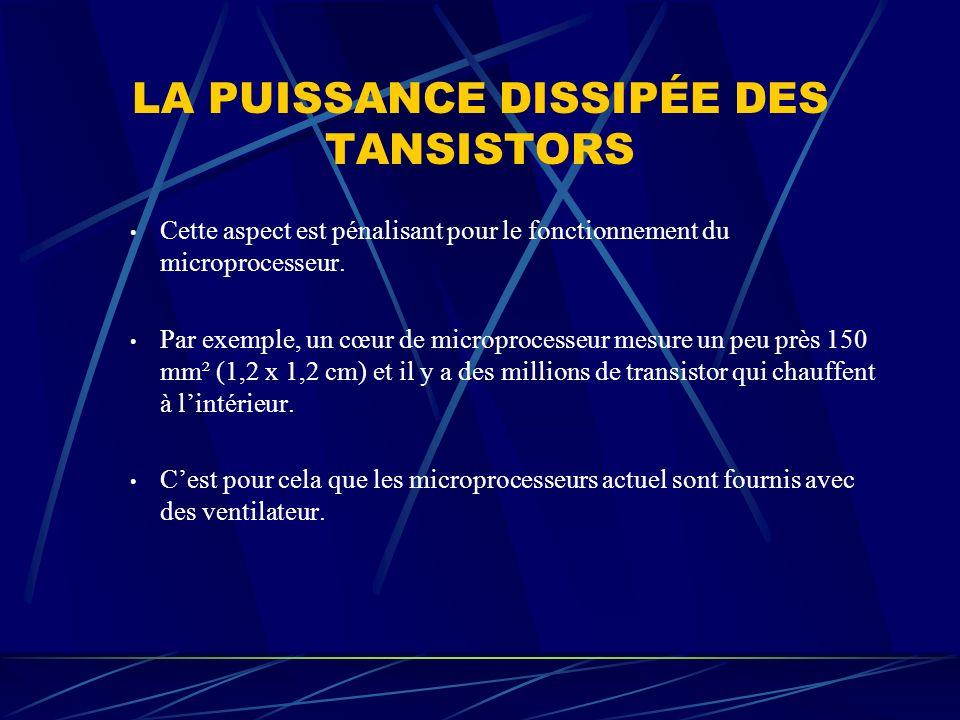 LA PUISSANCE DISSIPÉE DES TANSISTORS Cette aspect est pénalisant pour le fonctionnement du microprocesseur. Par exemple, un cœur de microprocesseur me