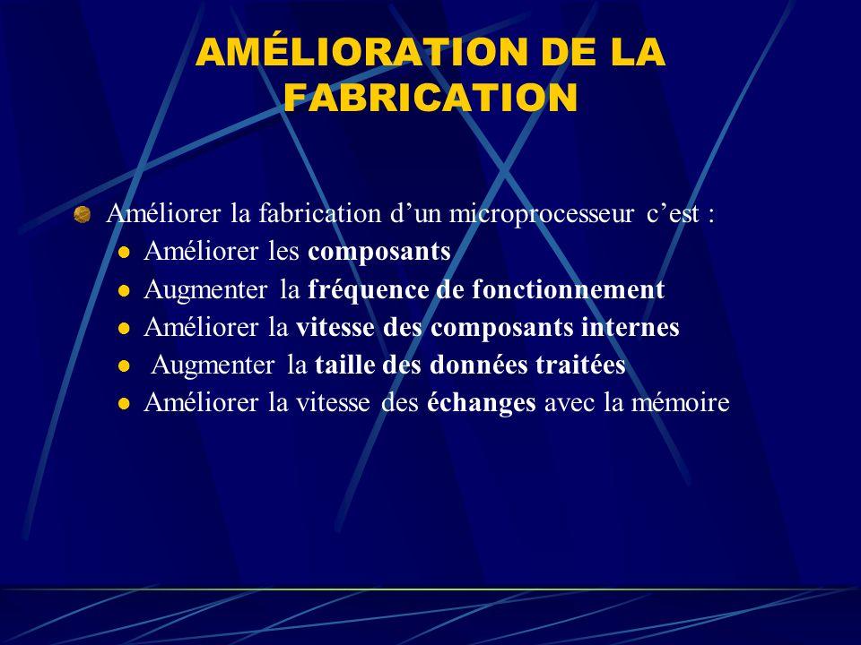 AMÉLIORATION DE LA FABRICATION Améliorer la fabrication dun microprocesseur cest : Améliorer les composants Augmenter la fréquence de fonctionnement A