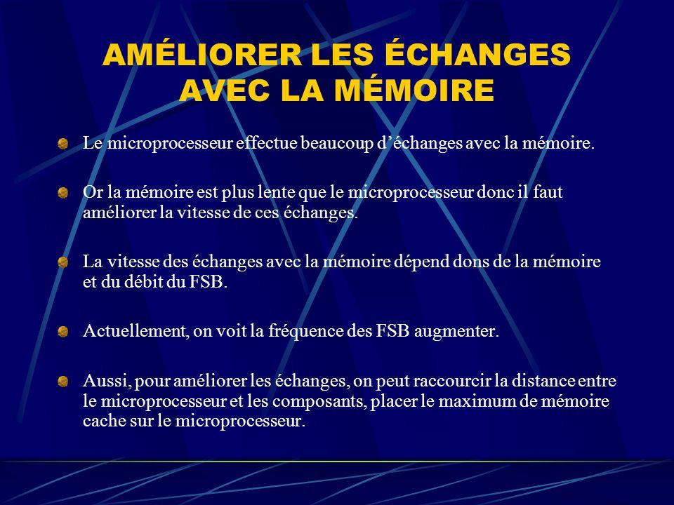 AMÉLIORER LES ÉCHANGES AVEC LA MÉMOIRE Le microprocesseur effectue beaucoup déchanges avec la mémoire. Or la mémoire est plus lente que le microproces
