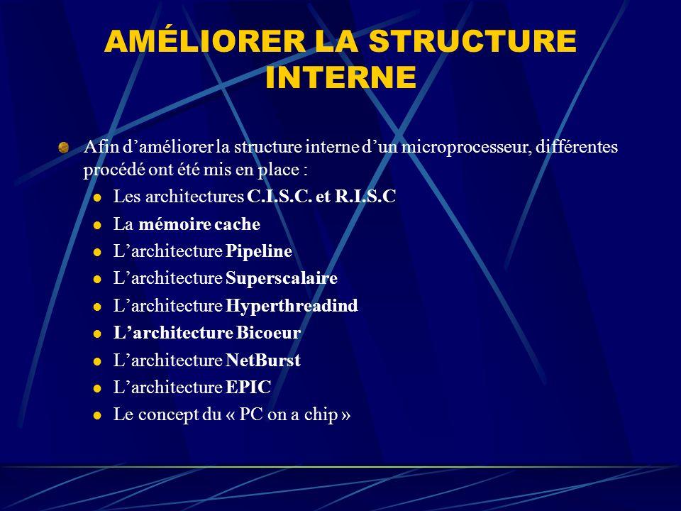 AMÉLIORER LA STRUCTURE INTERNE Afin daméliorer la structure interne dun microprocesseur, différentes procédé ont été mis en place : Les architectures