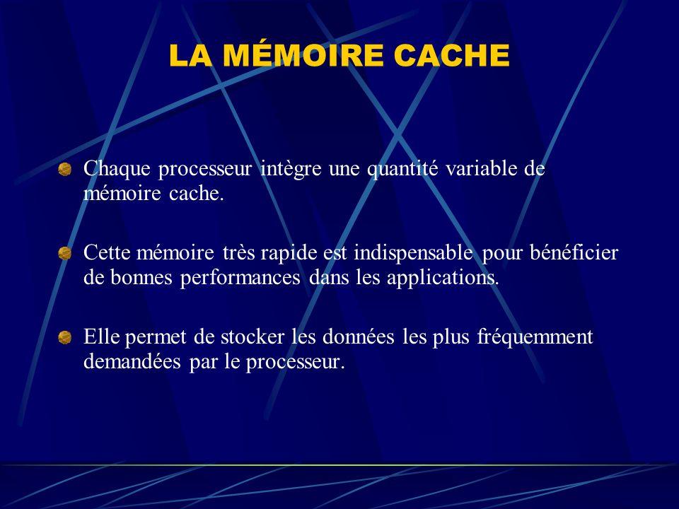 LA MÉMOIRE CACHE Chaque processeur intègre une quantité variable de mémoire cache. Cette mémoire très rapide est indispensable pour bénéficier de bonn