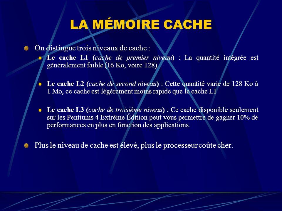 LA MÉMOIRE CACHE On distingue trois niveaux de cache : Le cache L1 (cache de premier niveau) : La quantité intégrée est généralement faible (16 Ko, vo