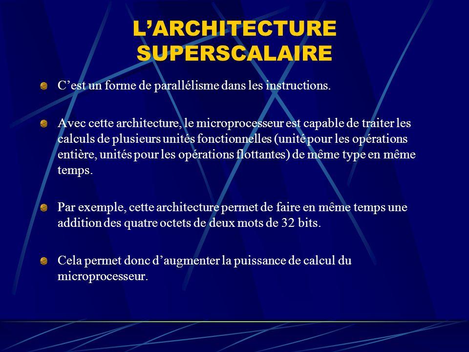 LARCHITECTURE SUPERSCALAIRE Cest un forme de parallélisme dans les instructions. Avec cette architecture, le microprocesseur est capable de traiter le
