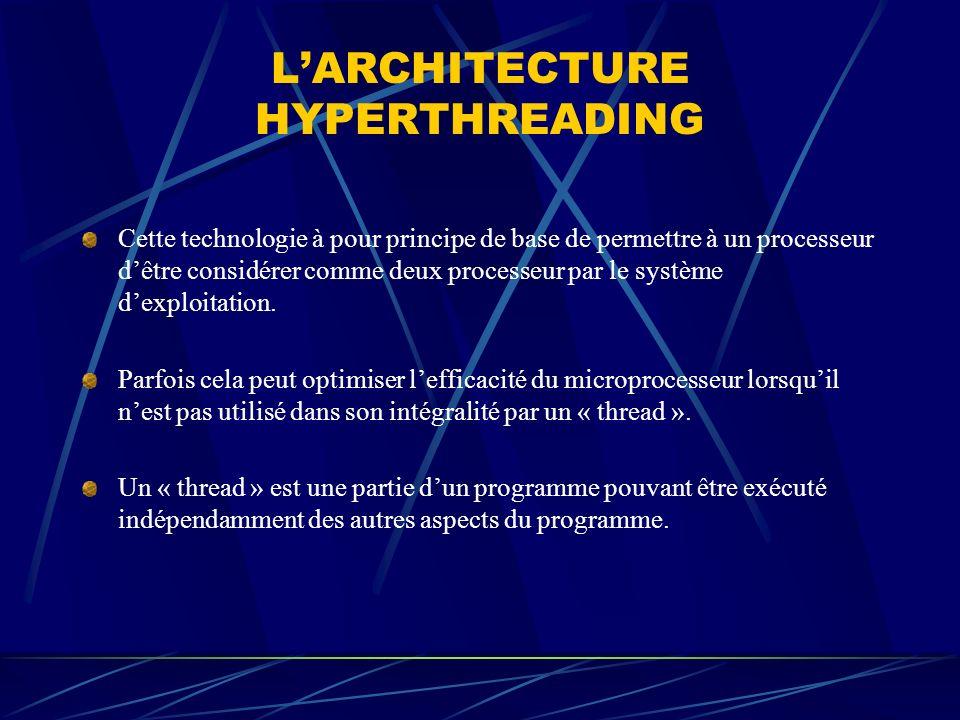 LARCHITECTURE HYPERTHREADING Cette technologie à pour principe de base de permettre à un processeur dêtre considérer comme deux processeur par le syst
