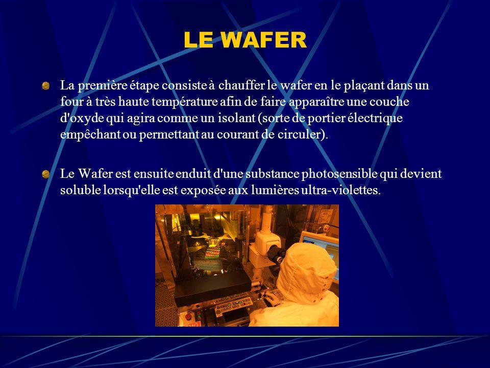 LE WAFER La première étape consiste à chauffer le wafer en le plaçant dans un four à très haute température afin de faire apparaître une couche d'oxyd