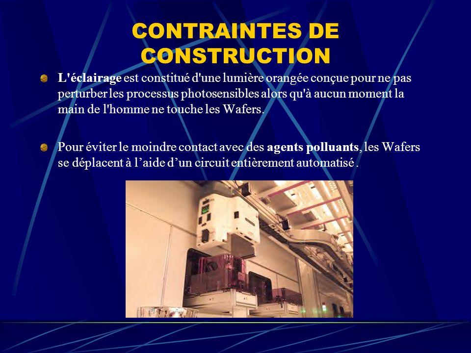 CONTRAINTES DE CONSTRUCTION L'éclairage est constitué d'une lumière orangée conçue pour ne pas perturber les processus photosensibles alors qu'à aucun