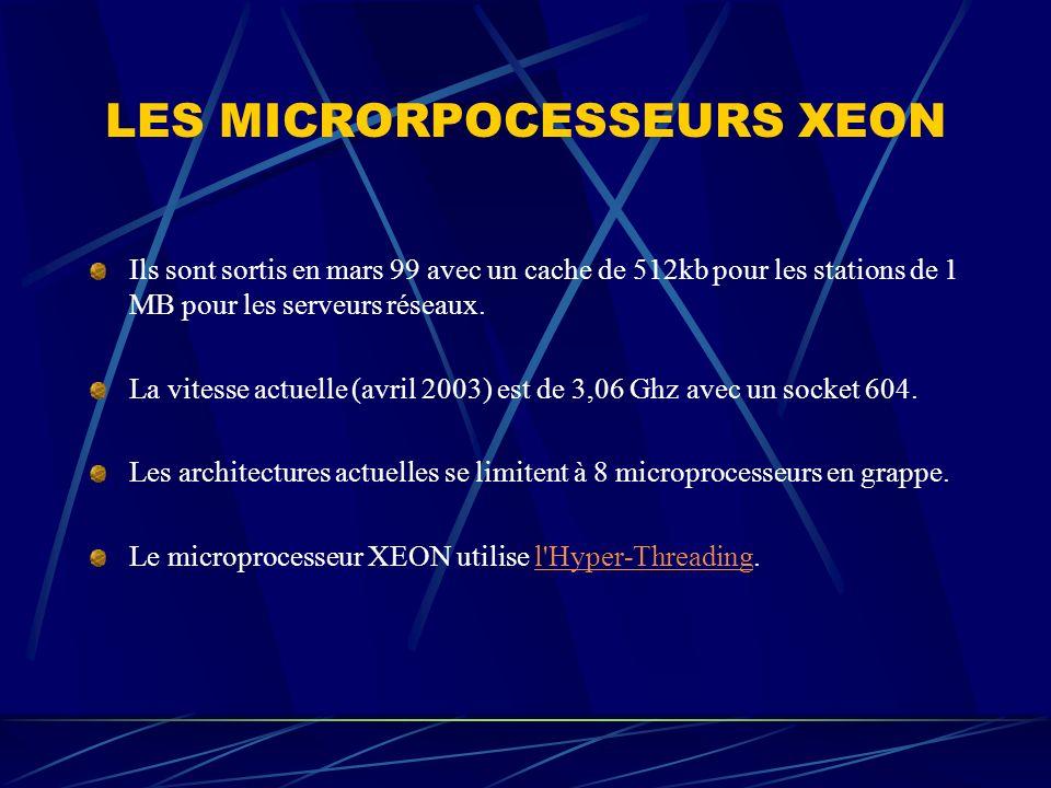 LES MICRORPOCESSEURS XEON Ils sont sortis en mars 99 avec un cache de 512kb pour les stations de 1 MB pour les serveurs réseaux. La vitesse actuelle (