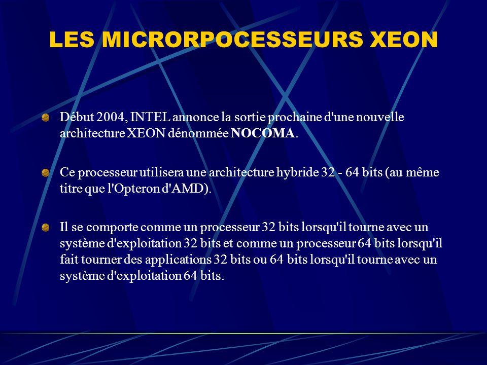 LES MICRORPOCESSEURS XEON Début 2004, INTEL annonce la sortie prochaine d'une nouvelle architecture XEON dénommée NOCOMA. Ce processeur utilisera une