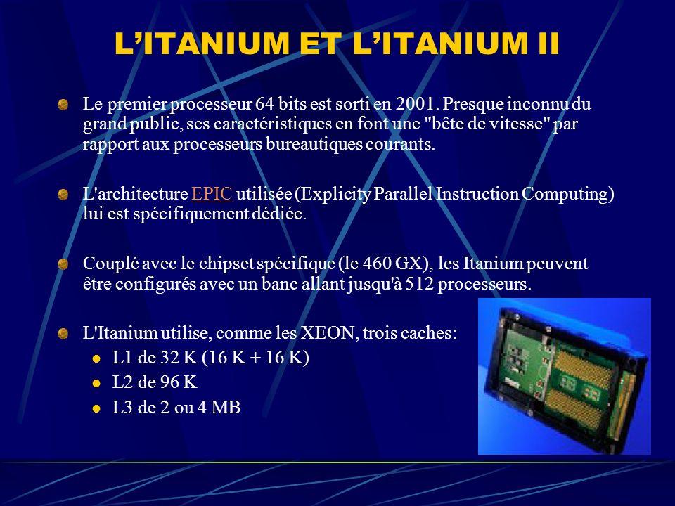 LITANIUM ET LITANIUM II Le premier processeur 64 bits est sorti en 2001. Presque inconnu du grand public, ses caractéristiques en font une