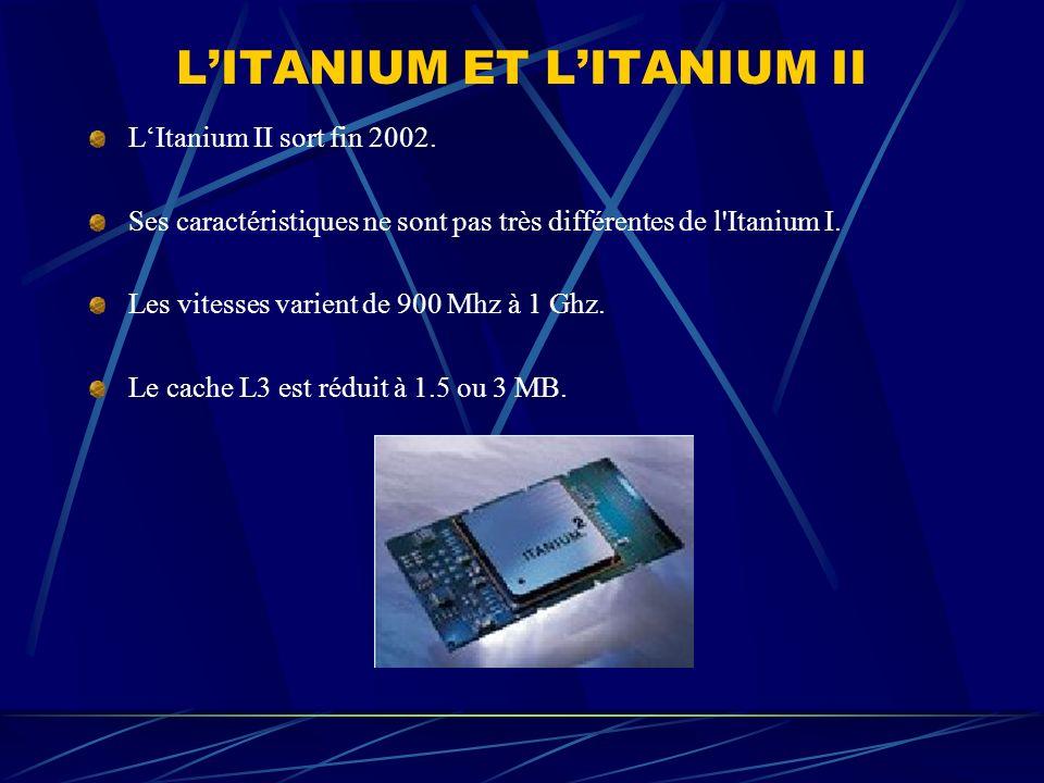 LITANIUM ET LITANIUM II LItanium II sort fin 2002. Ses caractéristiques ne sont pas très différentes de l'Itanium I. Les vitesses varient de 900 Mhz à