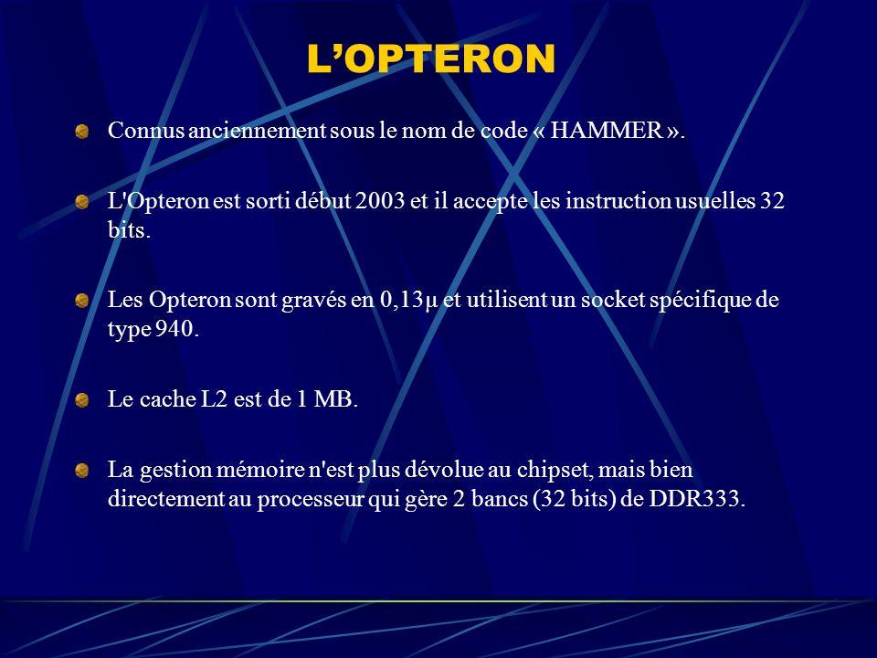 LOPTERON Connus anciennement sous le nom de code « HAMMER ». L'Opteron est sorti début 2003 et il accepte les instruction usuelles 32 bits. Les Optero