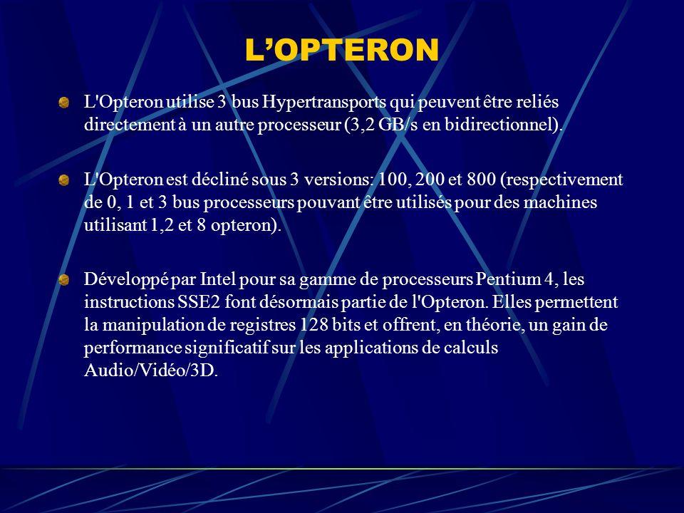LOPTERON L'Opteron utilise 3 bus Hypertransports qui peuvent être reliés directement à un autre processeur (3,2 GB/s en bidirectionnel). L'Opteron est
