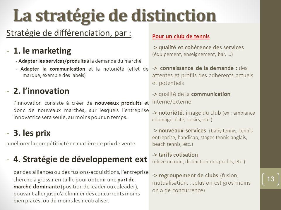 La stratégie de distinction Stratégie de différenciation, par : -1. le marketing - Adapter les services/produits à la demande du marché - Adapter la c