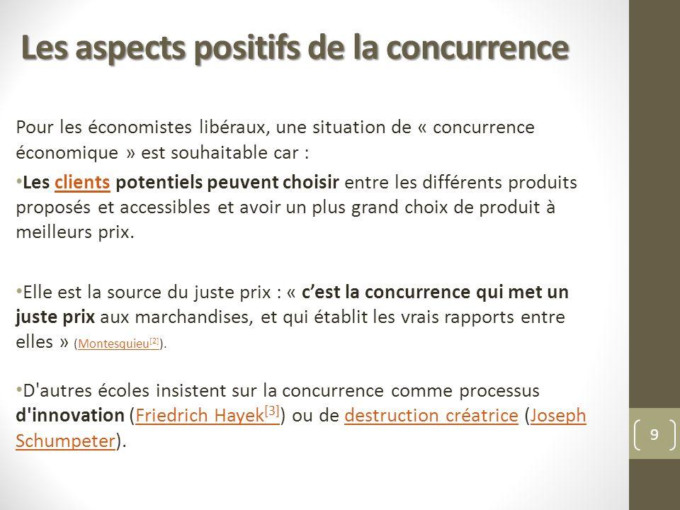 Les aspects positifs de la concurrence Pour les économistes libéraux, une situation de « concurrence économique » est souhaitable car : Les clients po