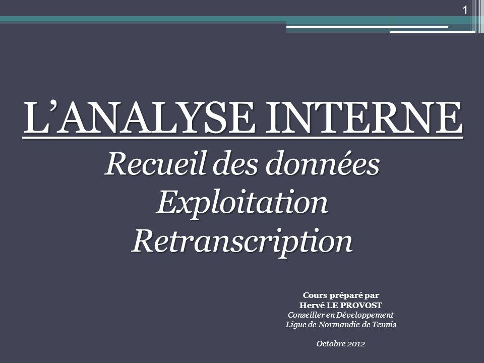 LANALYSE INTERNE Recueil des données ExploitationRetranscription 1 Cours préparé par Hervé LE PROVOST Conseiller en Développement Ligue de Normandie d