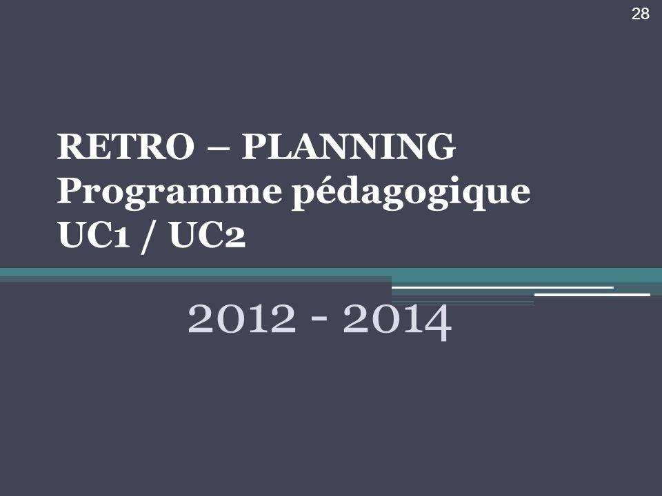 RETRO – PLANNING Programme pédagogique UC1 / UC2 2012 - 2014 28
