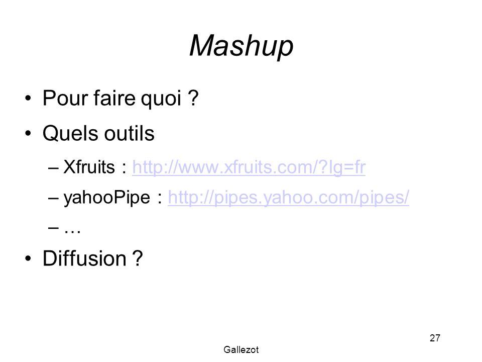 Gallezot 27 Mashup Pour faire quoi ? Quels outils –Xfruits : http://www.xfruits.com/?lg=frhttp://www.xfruits.com/?lg=fr –yahooPipe : http://pipes.yaho