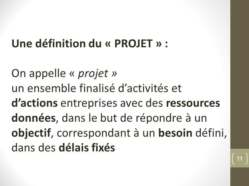 Une définition du « PROJET » : On appelle « projet » un ensemble finalisé dactivités et dactions entreprises avec des ressources données, dans le but de répondre à un objectif, correspondant à un besoin défini, dans des délais fixés 11