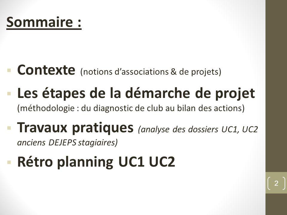Sommaire : Contexte (notions dassociations & de projets) Les étapes de la démarche de projet (méthodologie : du diagnostic de club au bilan des action