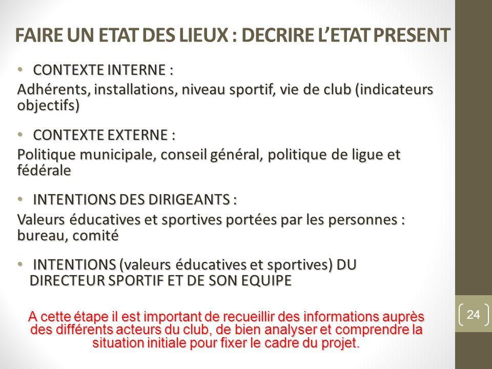 FAIRE UN ETAT DES LIEUX : DECRIRE LETAT PRESENT CONTEXTE INTERNE : CONTEXTE INTERNE : Adhérents, installations, niveau sportif, vie de club (indicateu