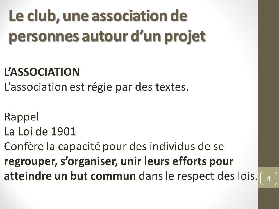 Le club, une association de personnes autour dun projet LASSOCIATION Lassociation est régie par des textes. Rappel La Loi de 1901 Confère la capacité