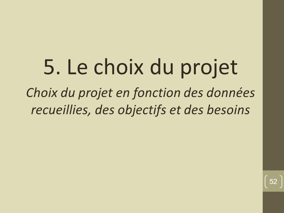 5. Le choix du projet Choix du projet en fonction des données recueillies, des objectifs et des besoins 52