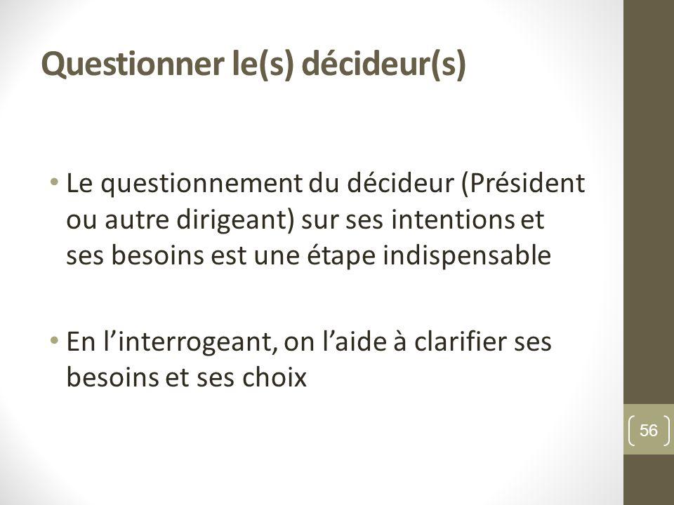 Questionner le(s) décideur(s) Le questionnement du décideur (Président ou autre dirigeant) sur ses intentions et ses besoins est une étape indispensable En linterrogeant, on laide à clarifier ses besoins et ses choix 56