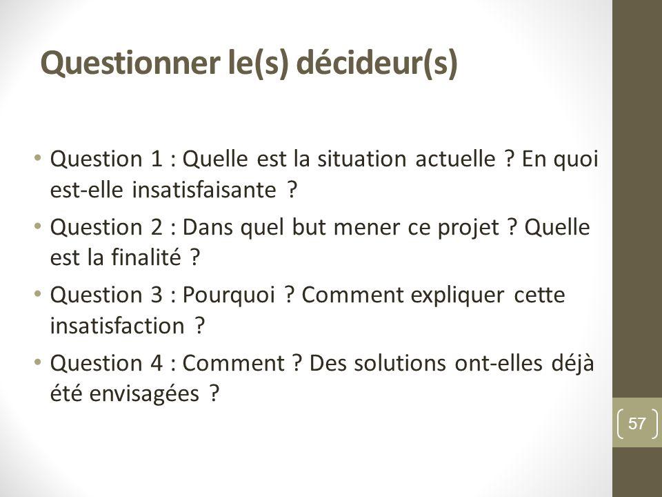 Questionner le(s) décideur(s) Question 1 : Quelle est la situation actuelle .
