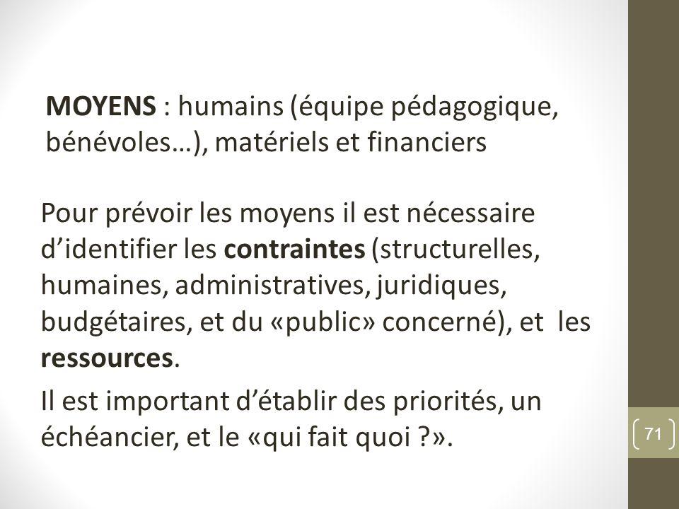 MOYENS : humains (équipe pédagogique, bénévoles…), matériels et financiers Pour prévoir les moyens il est nécessaire didentifier les contraintes (stru