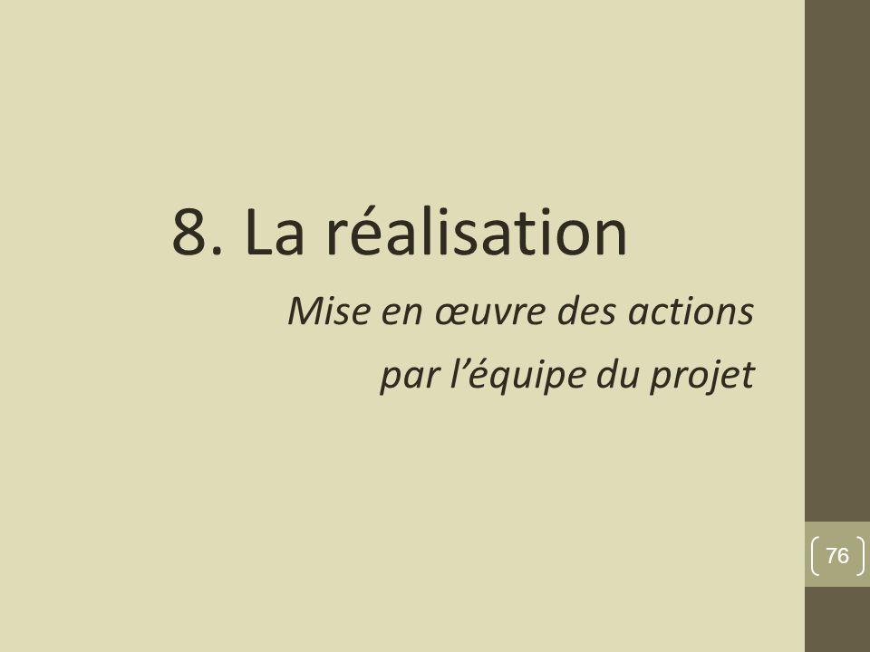 8. La réalisation Mise en œuvre des actions par léquipe du projet 76