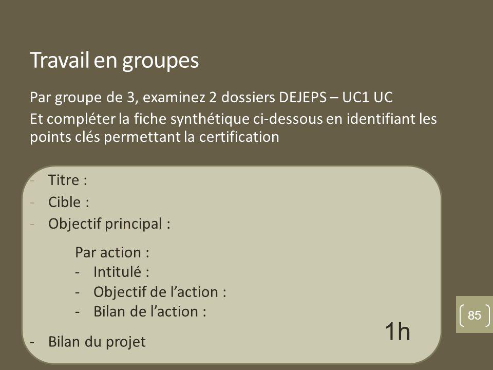 Travail en groupes Par groupe de 3, examinez 2 dossiers DEJEPS – UC1 UC Et compléter la fiche synthétique ci-dessous en identifiant les points clés permettant la certification -Titre : -Cible : -Objectif principal : Par action : -Intitulé : -Objectif de laction : -Bilan de laction : -Bilan du projet 1h 85
