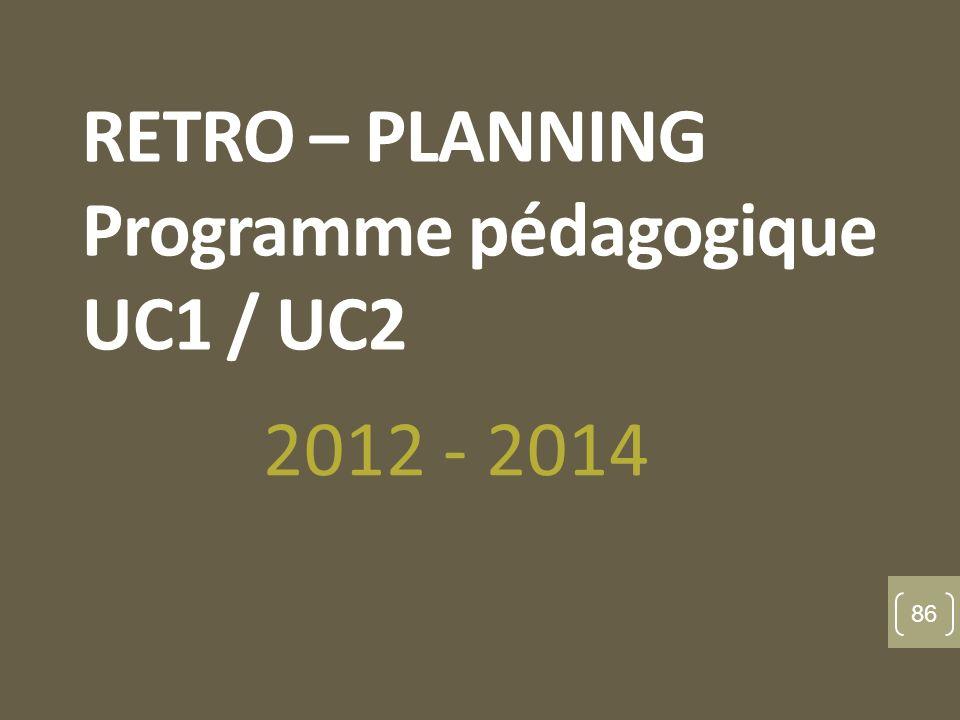 RETRO – PLANNING Programme pédagogique UC1 / UC2 2012 - 2014 86