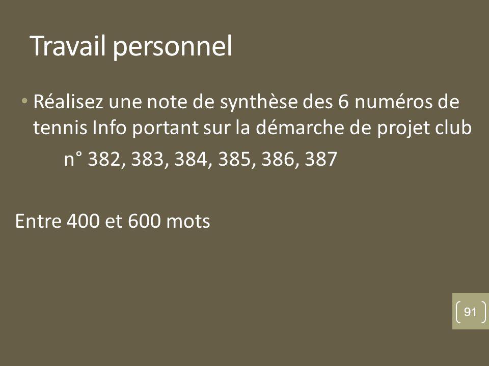 Travail personnel Réalisez une note de synthèse des 6 numéros de tennis Info portant sur la démarche de projet club n° 382, 383, 384, 385, 386, 387 En
