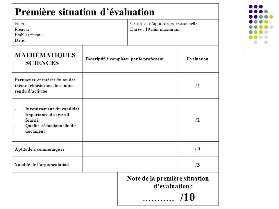 LE CCF en mathématiques sciences 1ère situation dévaluation Compte rendu dactivités en relation avec la profession et mettant en œuvre des compétences