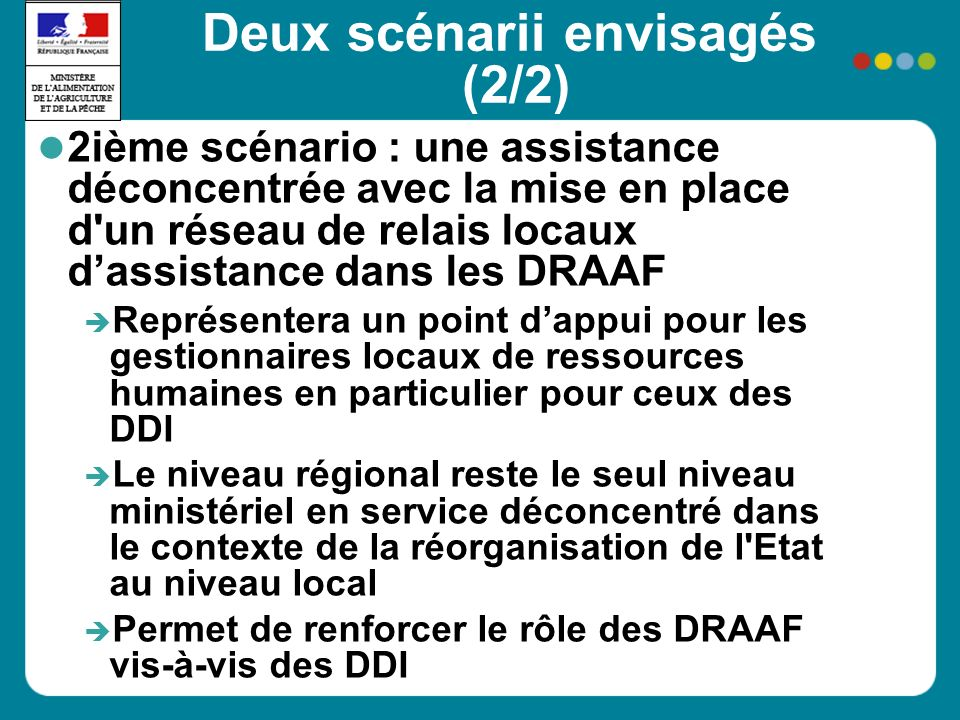 Deux scénarii envisagés (2/2) 2ième scénario : une assistance déconcentrée avec la mise en place d un réseau de relais locaux dassistance dans les DRAAF Représentera un point dappui pour les gestionnaires locaux de ressources humaines en particulier pour ceux des DDI Le niveau régional reste le seul niveau ministériel en service déconcentré dans le contexte de la réorganisation de l Etat au niveau local Permet de renforcer le rôle des DRAAF vis-à-vis des DDI