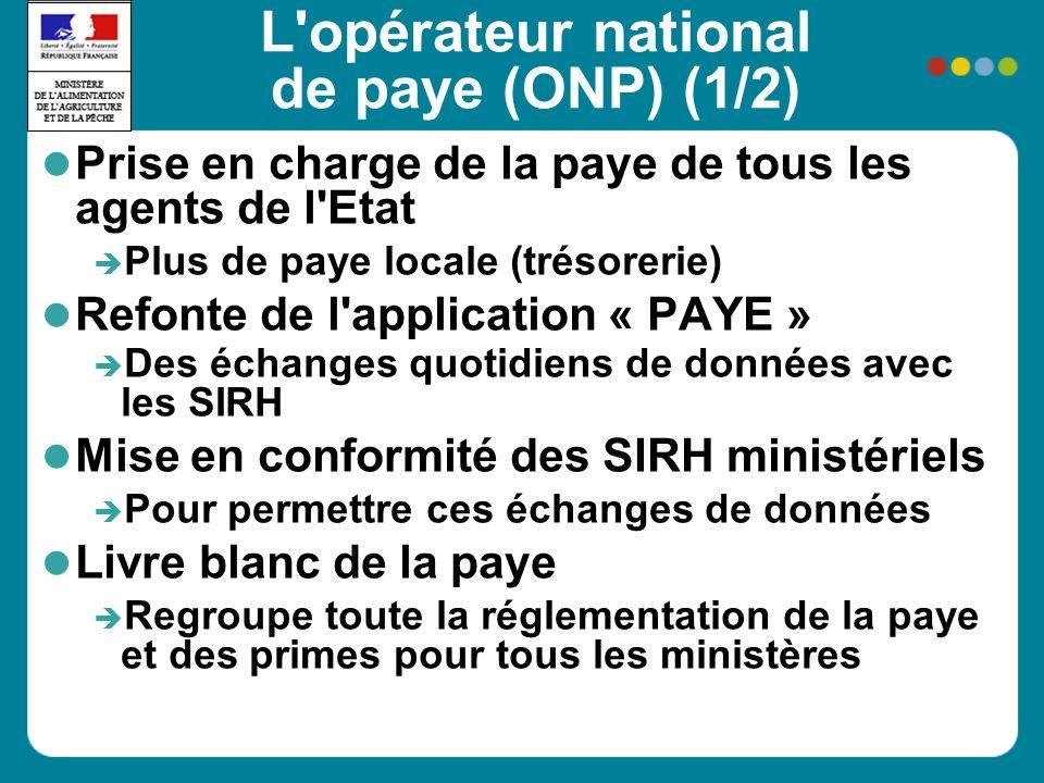L'opérateur national de paye (ONP) (1/2) Prise en charge de la paye de tous les agents de l'Etat Plus de paye locale (trésorerie) Refonte de l'applica
