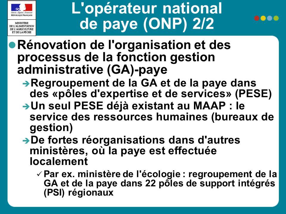 L'opérateur national de paye (ONP) 2/2 Rénovation de l'organisation et des processus de la fonction gestion administrative (GA)-paye Regroupement de l