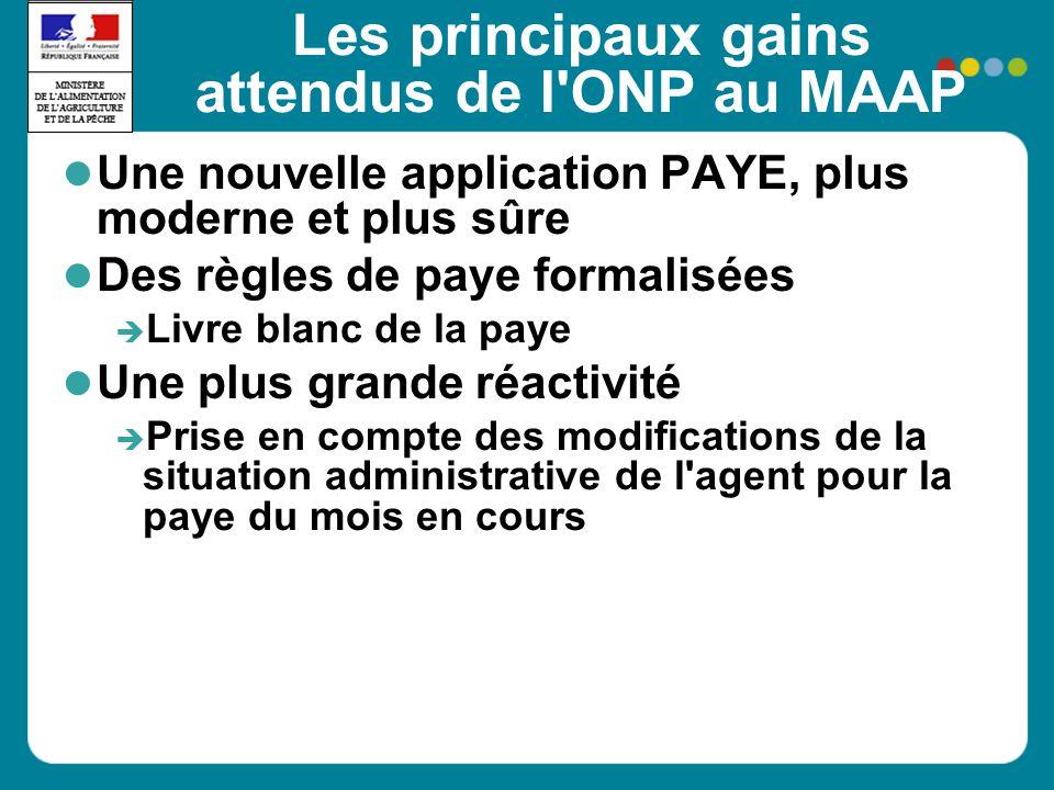 Les principaux gains attendus de l'ONP au MAAP Une nouvelle application PAYE, plus moderne et plus sûre Des règles de paye formalisées Livre blanc de