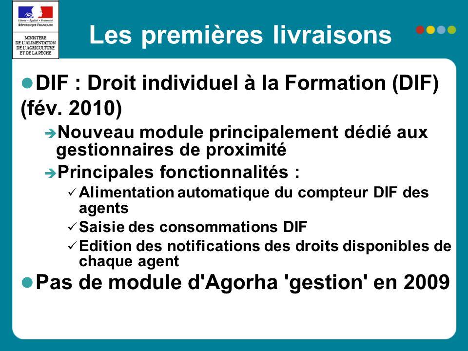 Les premières livraisons DIF : Droit individuel à la Formation (DIF) (fév. 2010) Nouveau module principalement dédié aux gestionnaires de proximité Pr