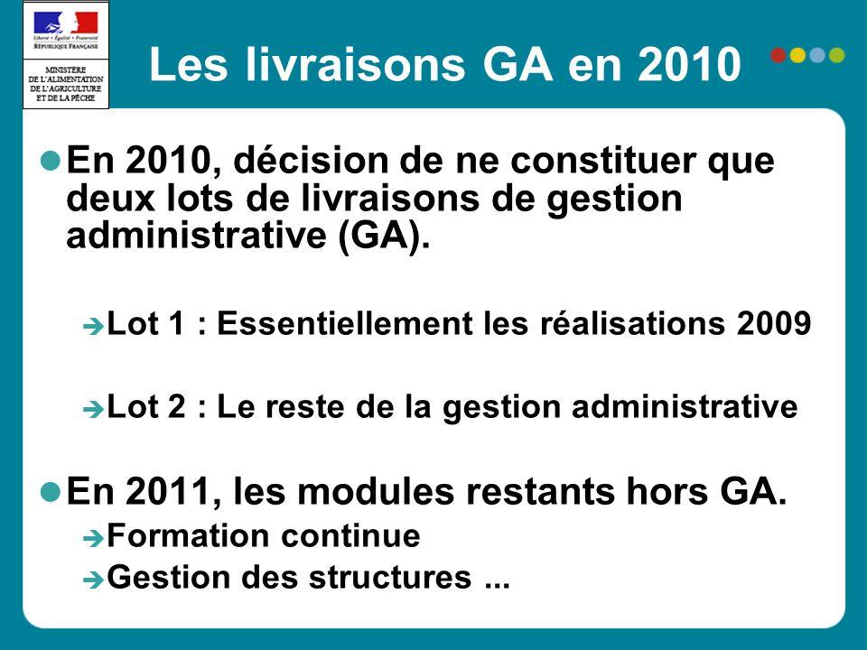 Les livraisons GA en 2010 En 2010, décision de ne constituer que deux lots de livraisons de gestion administrative (GA). Lot 1 : Essentiellement les r