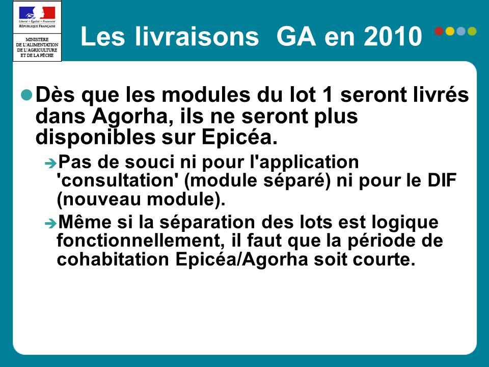 Les livraisons GA en 2010 Dès que les modules du lot 1 seront livrés dans Agorha, ils ne seront plus disponibles sur Epicéa. Pas de souci ni pour l'ap
