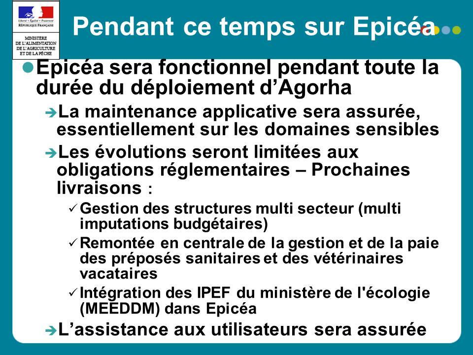 Pendant ce temps sur Epicéa Epicéa sera fonctionnel pendant toute la durée du déploiement dAgorha La maintenance applicative sera assurée, essentielle
