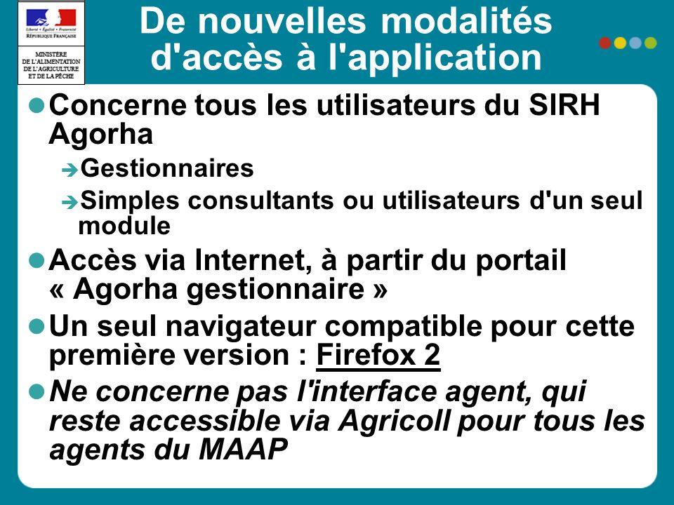 De nouvelles modalités d'accès à l'application Concerne tous les utilisateurs du SIRH Agorha Gestionnaires Simples consultants ou utilisateurs d'un se