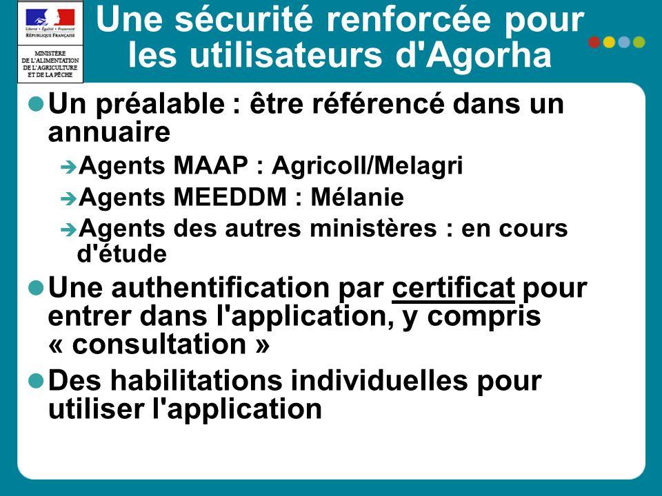 Une sécurité renforcée pour les utilisateurs d'Agorha Un préalable : être référencé dans un annuaire Agents MAAP : Agricoll/Melagri Agents MEEDDM : Mé