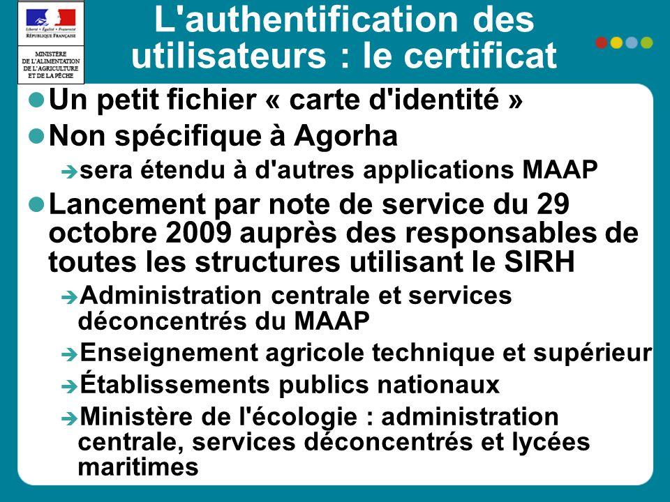 L'authentification des utilisateurs : le certificat Un petit fichier « carte d'identité » Non spécifique à Agorha sera étendu à d'autres applications